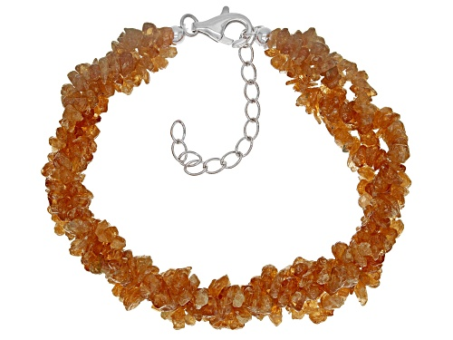 Photo of Free form Mandarin garnet chip sterling silver 3-strand torsade bracelet - Size 8