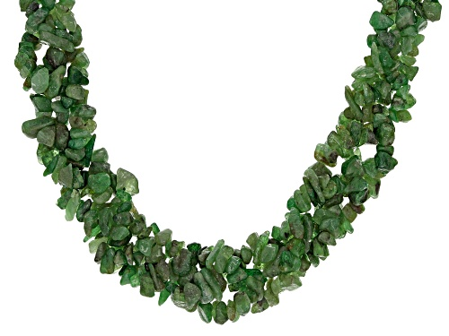 Photo of Free form Tsavorite Garnet chip Sterling Silver 3-strand torsade Necklace - Size 19