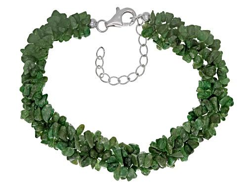 Free form tsavorite garnet chip sterling silver 3-strand torsade bracelet - Size 8