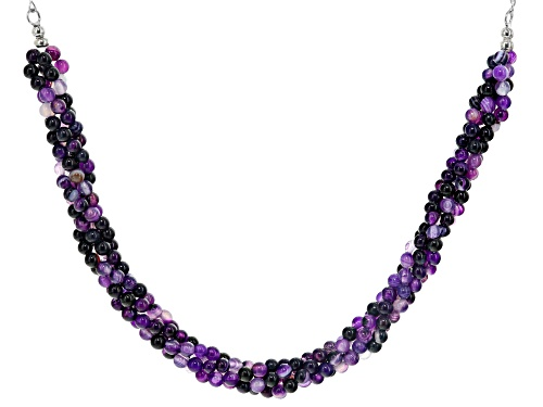 Photo of 4mm Round Purple Banded Agate Sterling Silver Torsade Necklace - Size 20