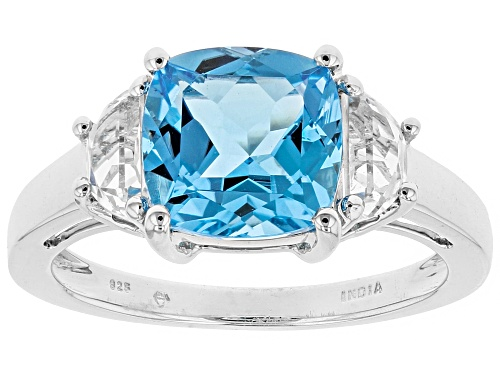 Photo of 3.75ct Square Cushion Swiss Blue Topaz & .75ctw Crescent White Topaz Rhodium Over Silver Ring - Size 12