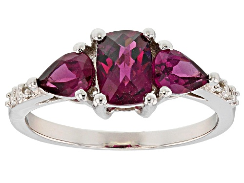 Photo of .95t Rectangular Cushion & .90ctw Raspberry Color Rhodolite, .02ctw Topaz Rhodium Over Silver Ring - Size 8
