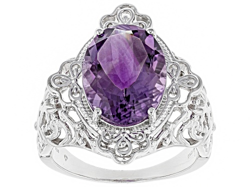 Photo of 4.95ct oval African amethyst sterling silver solitaire ring - Size 7