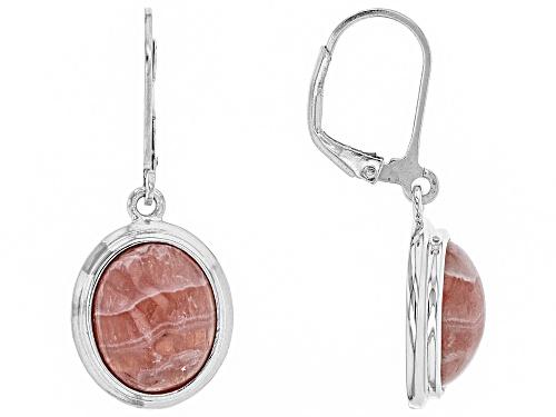 Photo of 12x10mm oval cabochon rhodochrosite sterling silver dangle earrings