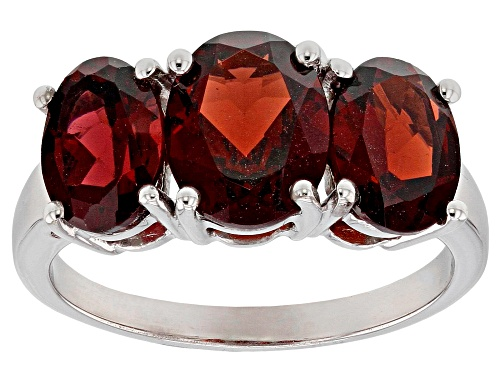 Photo of 4.43ctw Oval Garnet sterling silver 3-stone ring - Size 5