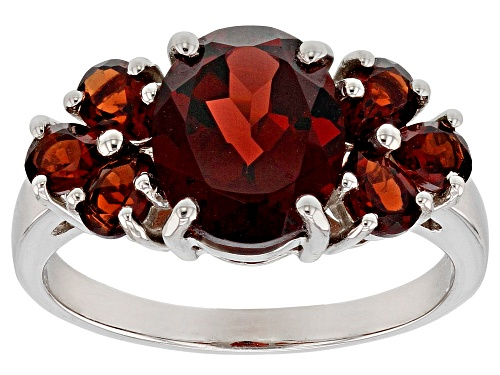 Photo of 2.45ct Oval and 1.15ctw pear shape garnet sterling silver ring - Size 5
