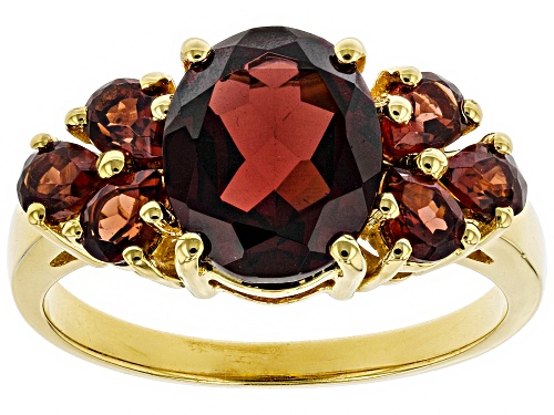 Photo of 2.45ct Oval And 1.15ctw Pear Shape Garnet 18k Yellow Gold Over Sterling Silver Ring - Size 8