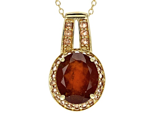 Photo of 4.37CT OVAL HESSONITE WITH .47CTW ROUND ANDALUSITE 18K GOLD OVER STERLING SILVER PENDANT WITH CHAIN