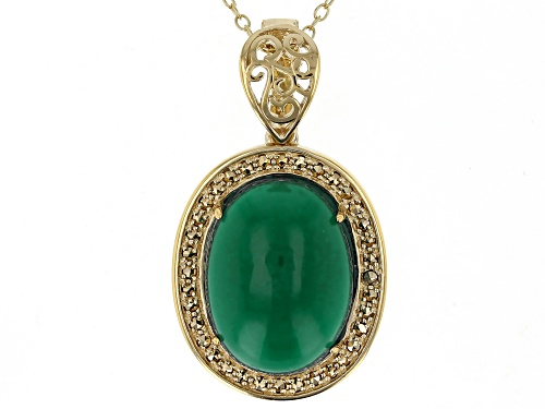 16x12mm oval onyx, 0.18ctw marcasite 18k gold over sterling silver enhancer pendant with chain.