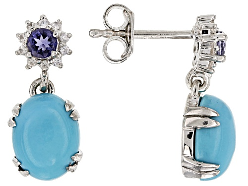 Photo of 9x7mm Oval sleeping beauty turquoise, .08ctw Iolite & .01ctw zircon silver dangle earrings