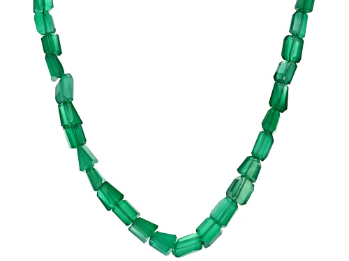 Photo of 144.50CTW FANCY MIXED SHAPE GREEN ONYX NUGGET STERLING SILVER BEAD NECKLACE - Size 20