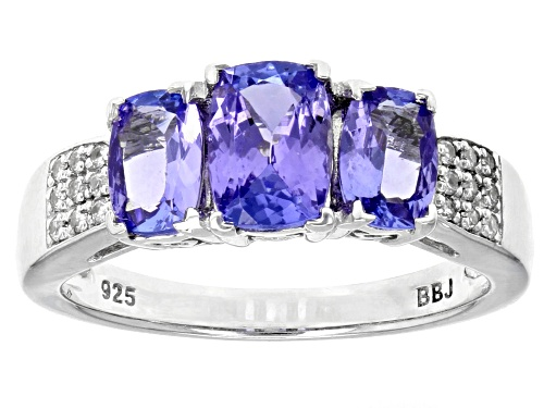 Photo of 1.69CTW TANZANITE WITH .10CTW ROUND WHITE ZIRCON RHODIUM OVER STERLING SILVER RING - Size 10