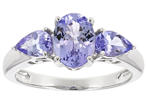 Photo of 1.74ctw Oval & Pear Shape Tanzanite Rhodium Over Sterling Silver 3-Stone Ring - Size 9