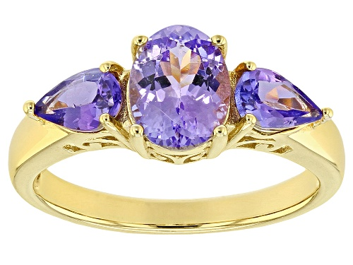 Photo of 1.74ctw Oval & Pear Shape Tanzanite 18k Gold Over Sterling Silver 3-Stone Ring - Size 9