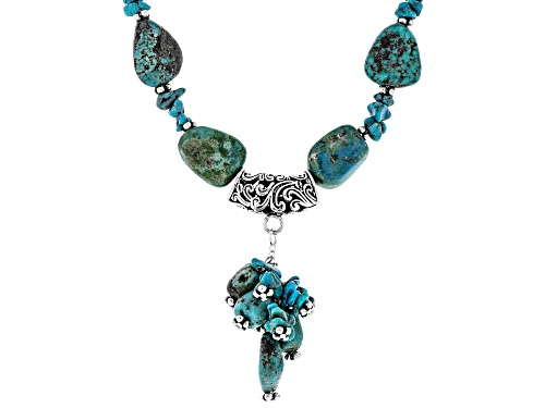 Photo of FREE-FORM TUMBLED TURQUOISE STRAND WITH TUMBLED NUGGET TASSEL STERLING SILVER BEAD NECKLACE - Size 17
