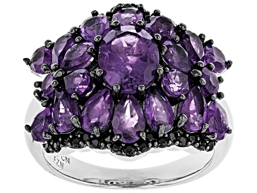 Photo of 3.86ctw mixed shapes African amethyst with .34ctw  round black spinel rhodium over silver ring - Size 7