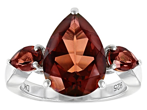 Photo of 4.68ctw Pear Shape Red Labradorite Rhodium Over Sterling Silver 3-stone Ring - Size 9
