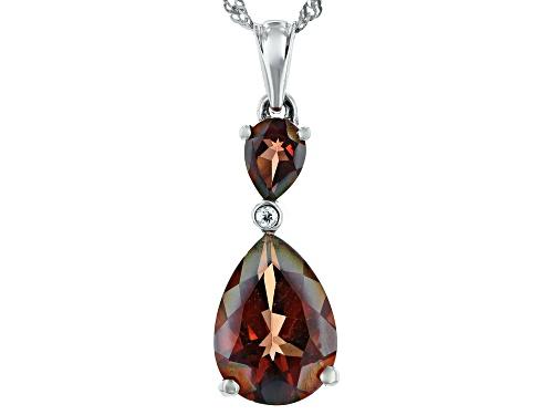 Photo of 4.56ctw Pear Shape Red Labradorite & .03ct White Zircon Rhodium Over Silver Pendant W/Chain