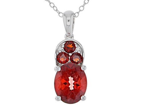 Photo of 2.00CT OVAL RED LABRADORITE AND .38CTW VERMELHO GARNET™ RHODIUM OVER SILVER PENDANT WITH CHAIN