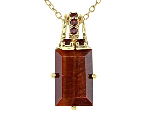 Photo of 12x8mm Tiger's Eye with .18ctw Vermelho Garnet™ 18k Gold Over Sterling Silver Pendant with Chain