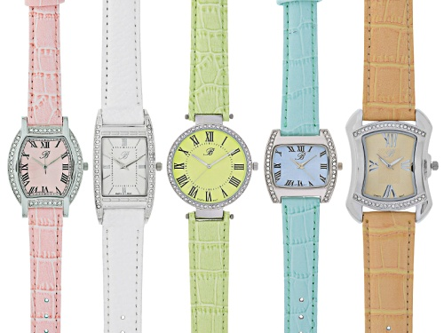 Photo of Burgi Ladies White Crystal Silver Tone Peach White Green Blue Pink Mixed Watch Set Of 5
