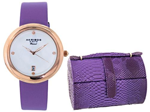 Akribos Ladies Gold Tone Purple Strap Watch And Jewelry Box Set