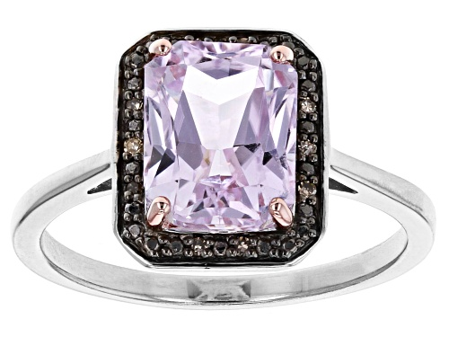 Photo of 2.34ct Emerald Cut Kunzite with .03ctw Champagne Diamond Accent Rhodium Over Sterling Silver Ring - Size 7