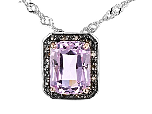 Photo of 2.34ct Radiant Cut Kunzite with .03ctw Champagne Diamond Accent Rhodium Over Silver Pendant/Chain