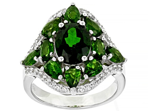 Photo of 3.58ctw Oval & Pear Shape Chrome Diopside With .46ctw Round White Zircon Rhodium Over Silver Ring - Size 8