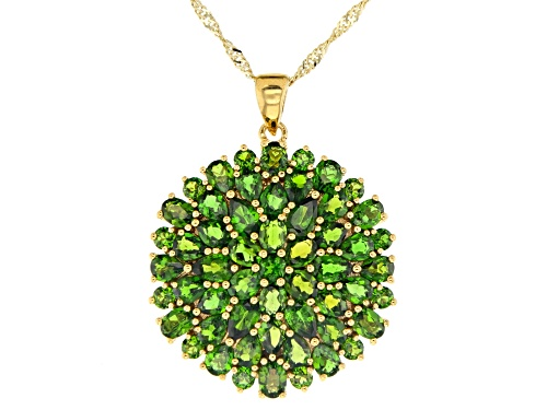 Photo of 7.15CTW MIXED SHAPES CHROME DIOPSIDE 18K YELLOW GOLD OVER STERLING SILVER PENDANT WITH CHAIN