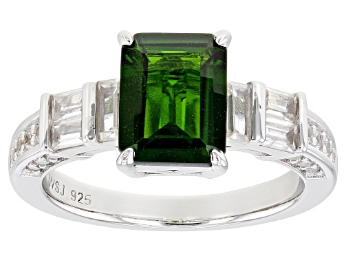 Photo of 1.90CT CHROME DIOPSIDE WITH .98CTW WHITE ZIRCON RHODIUM OVER STERLING SILVER RING - Size 9