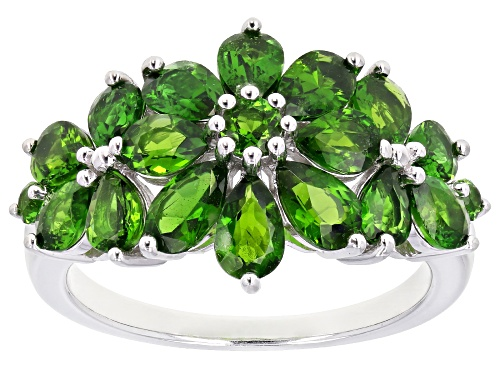 Photo of 2.84ctw Pear Shape and Round Russian Chrome Diopside Rhodium Over Sterling Silver Ring - Size 9
