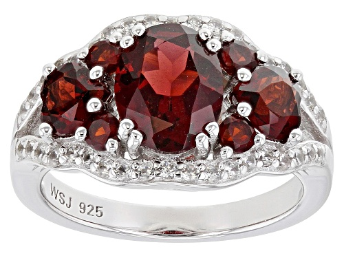 Photo of 3.25ctw MIXED SHAPES VERMELHO GARNET(TM) WITH .29CTW WHITE ZIRCON RHODIUM OVER SILVER RING - Size 8
