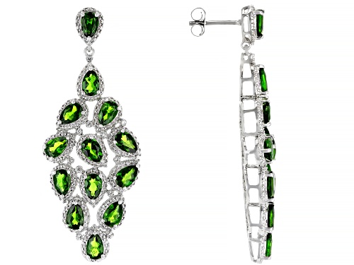 Photo of 9.28ctw Pear Shape Chrome Diopside With .13ctw White Zircon Rhodium Over Silver Chandelier Earrings