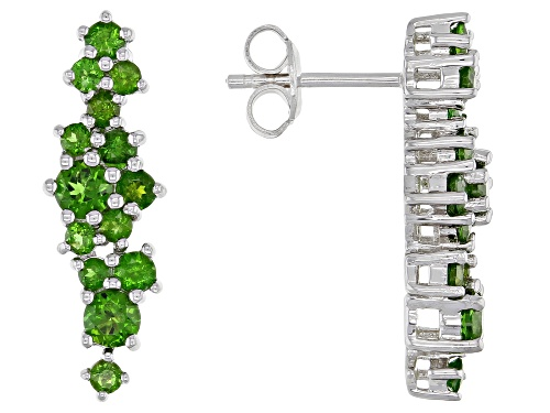 Photo of 1.76ctw Round Chrome Diopside Rhodium Over Sterling Silver Drop Earrings