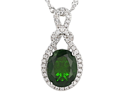 Photo of 2.04ct Oval Chrome Diopside With .17ctw White Zircon Rhodium Over Silver Pendant With Chain