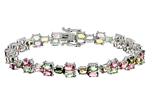 Photo of 10.56ctw Oval Multi-Tourmaline Rhodium Over Sterling Silver Bracelet - Size 8