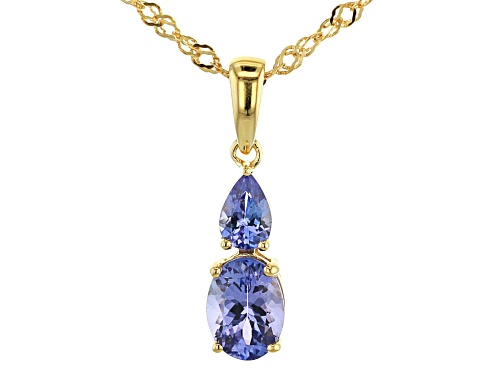 Photo of 1.40CTW OVAL/PEAR SHAPE TANZANITE 18K GOLD OVER STERLING SILVER PENDANT W/CHAIN