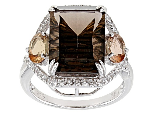 Photo of 5.84ct Smoky Quartz with .72ctw Andalusite and .35ctw White Zircon Rhodium Over Silver Ring - Size 7