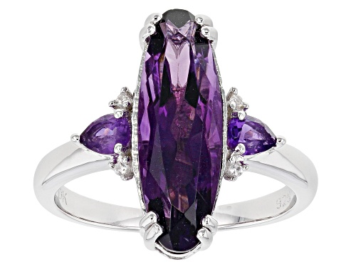 Photo of 3.40ctw Oval & Pear Shape African Amethyst With .03ctw Round White Zircon Rhodium Over Silver Ring - Size 9
