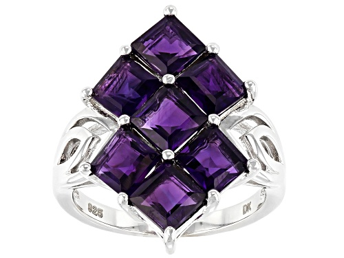 Photo of 3.57ctw Square African Amethyst Rhodium Over Sterling Silver Cluster Ring - Size 7