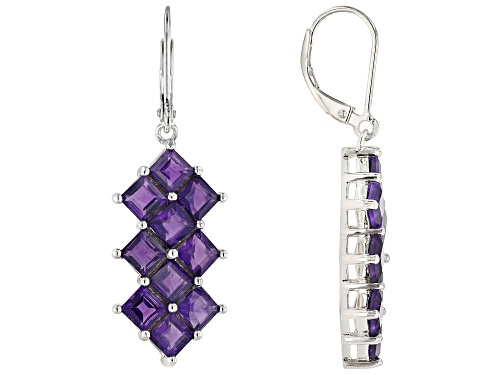 Photo of 5.44ctw Square African Amethyst Rhodium Over Sterling Silver Dangle Earrings