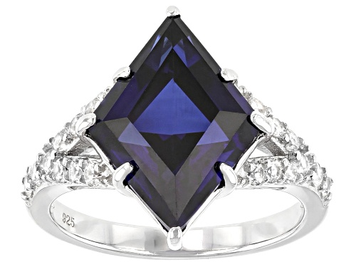 Photo of 6.33ct Lozenge Lab Created Blue Sapphire with .61ctw Round White Zircon Rhodium Over Silver Ring - Size 7