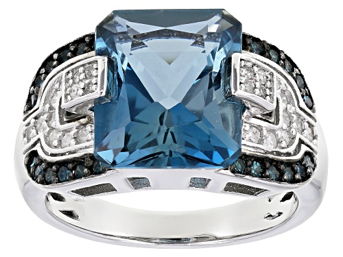 Photo of 6.38ct LONDON BLUE TOPAZ WITH 0.46ctw BLUE AND WHITE DIAMOND RHODIUM OVER STERLING SILVER RING - Size 6