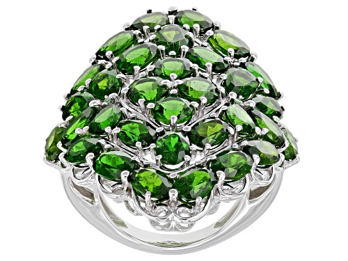 Photo of 13.47ctw Mixed Shape Chrome Diopside With .03ctw Round Tsavorite Rhodium Over Silver Cluster Ring - Size 7