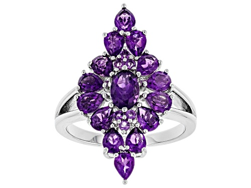 Photo of 2.35ctw Pear Shape, Oval & Round African Amethyst Rhodium Over Sterling Silver Cluster Ring - Size 8