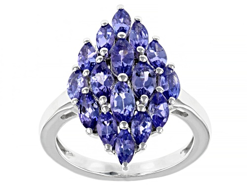 Photo of 2.38ctw Marquise Tanzanite Rhodium Over Sterling Silver Cluster Ring - Size 8
