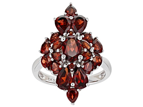 Photo of 5.05ctw Mixed Shape Vermelho Garnet(TM) Rhodium Over Sterling Silver Cluster Ring - Size 7