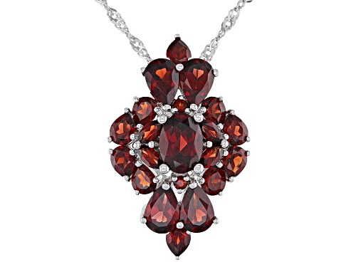 Photo of 5.05ctw Mixed Shape Vermelho Garnet(TM) Rhodium Over Silver Cluster Slide With Chain