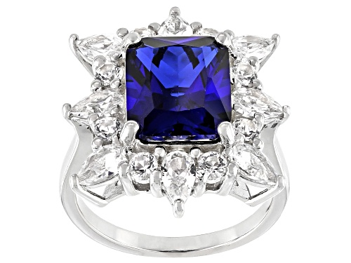Photo of 7.06ctw Lab Created Blue & White Sapphire Rhodium Over Sterling Silver Ring - Size 7